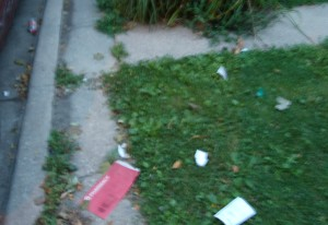 Celebrants left this garbage in front of my home.