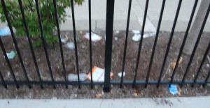 Food trash left inside parking lot along Devon Avenue fence.