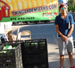 Nathan of Twin Garden Farms, a first-time vendor at the Devon Community Market.